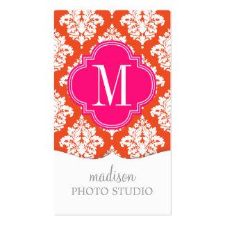 Elegant Orange Damask Personalized Business Card Templates