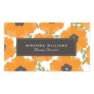 Elegant Orange Floral Business Cards