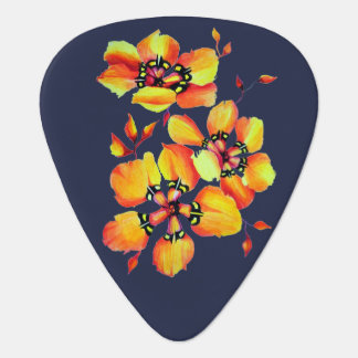 Elegant Orange Flowers - Dark Blue Background Guitar Pick