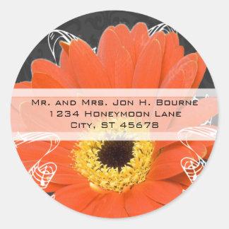 Elegant Orange Gerber Daisy Wedding Stickers Round Sticker