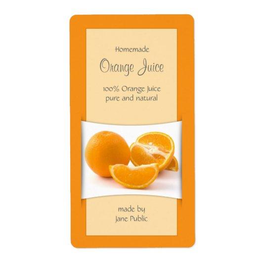 Elegant Orange Juice Jam Marmalade Shipping Label