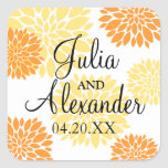 Elegant Orange Light Yellow Floral Burst Wedding Square Stickers