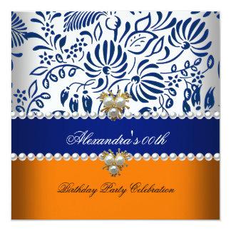 Elegant Orange Navy Blue Damask Pearl Party 2 Card