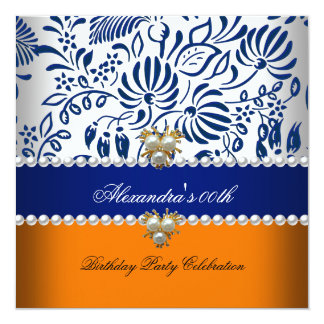 Elegant Orange Navy Blue Damask Pearl Party 2 5.25x5.25 Square Paper Invitation Card
