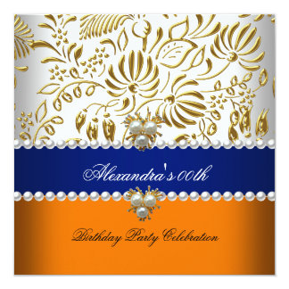 Elegant Orange Navy Blue Gold Damask Pearl Party 13 Cm X 13 Cm Square Invitation Card
