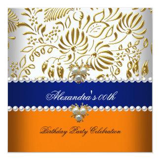 Elegant Orange Navy Blue Gold Damask Pearl Party 5.25x5.25 Square Paper Invitation Card