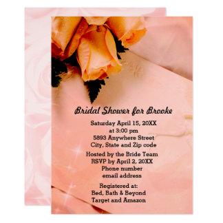 Elegant Orange & Pink Roses Fancy Bridal Shower Card