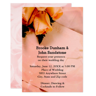 Elegant Orange & Pink Roses Fancy Wedding Invite