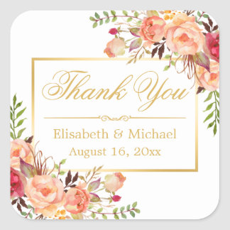 Elegant Orange Rose Floral Gold Frame Thank You Square Sticker