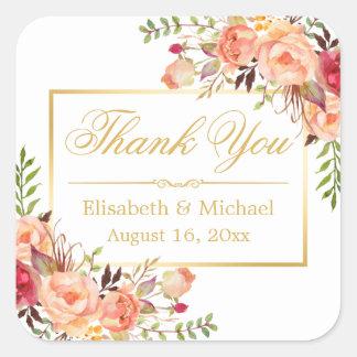 Elegant Orange Rose Floral Gold Frame Thank You Square Sticker