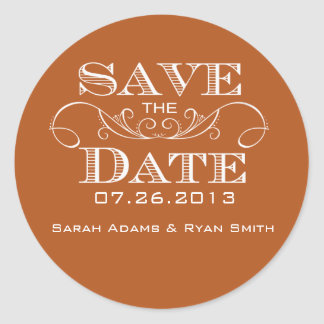 Elegant Orange Save the Date Sticker
