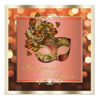 Elegant Orange Shimmering Lights Bokeh Masquerade 13 Cm X 13 Cm Square Invitation Card