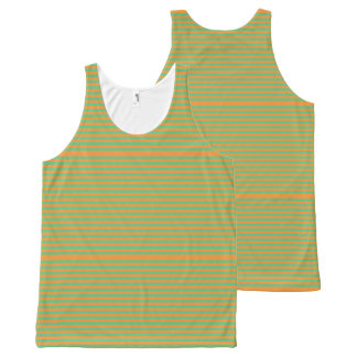 Elegant orange Stripes on Spring Green. All-Over Print Tank Top