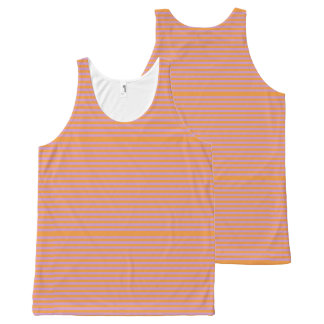 Elegant orange Stripes on Spring Pink. All-Over Print Tank Top