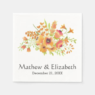 Elegant Orange Watercolor Floral Wedding Paper Napkins