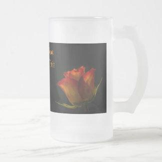 Elegant Orange Yellow Rose Brides Wedding Glass Coffee Mug