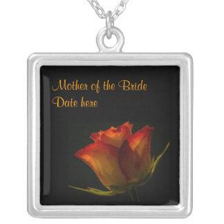 Elegant Orange Yellow Rose Mother of the Brides Necklaces