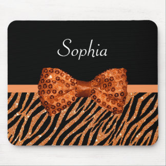 Elegant Orange Zebra Print FAUX Glitz Bow and Name Mouse Mat