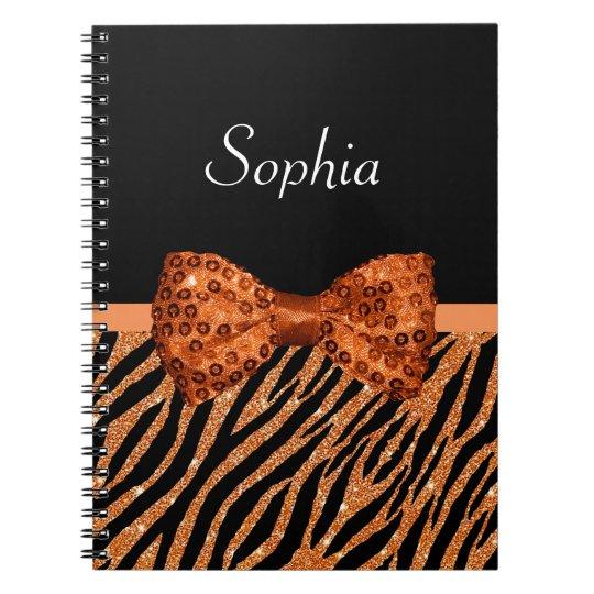 Elegant Orange Zebra Print FAUX Glitz Bow and Name Spiral Notebook