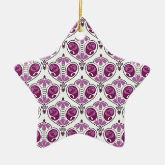 Elegant Orchid Floral Paisley Pattern On White Christmas Tree Ornament
