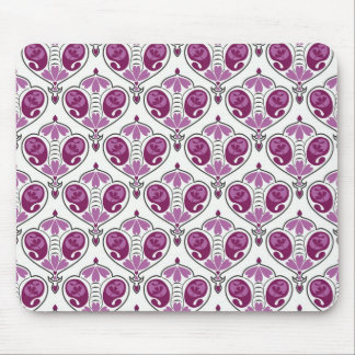 Elegant Orchid Floral Paisley Pattern On White Mouse Pad