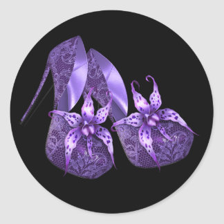 Elegant Orchid Purple High Heel Shoe Stickers