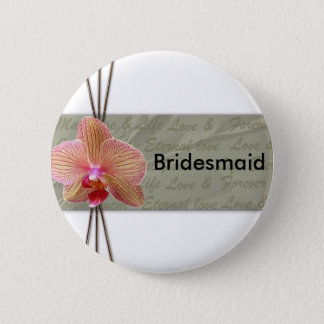 Elegant Orchid Wedding Design 6 Cm Round Badge