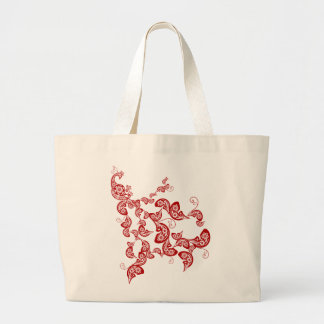 Elegant Oriental Chic Chinese Red Floral Peacock Jumbo Tote Bag