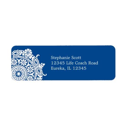 Elegant Ornament White/Royal Blue Avery Label Return Address Label