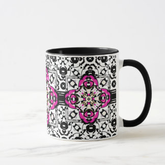 Elegant Ornamental Damask Fuchsia and Black