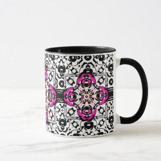 Elegant Ornamental Damask Fuchsia and Black Mug
