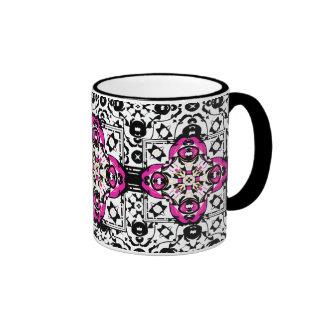 Elegant Ornamental Damask Fuchsia and Black Coffee Mug