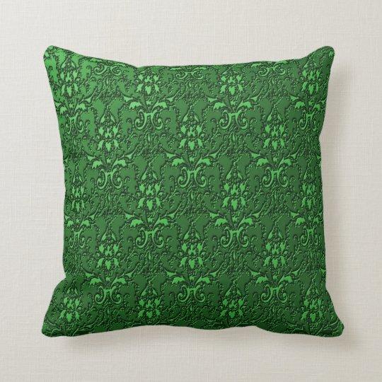 Elegant Ornate Formal Emerald Green Throw Pillow