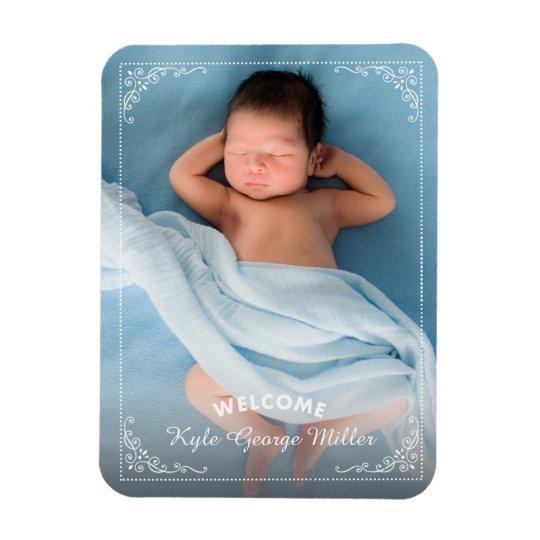 Elegant Ornate Frame Welcome Birth Announcement Rectangular Photo Magnet