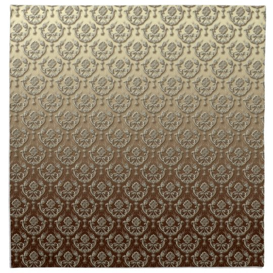 Elegant Ornate Gold Embossed Damask Napkin