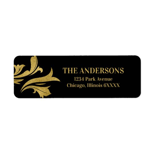 Elegant Ornate Gold Merry Christmas Address Label