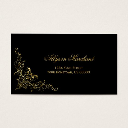 Elegant Ornate Gold Swirls on Black Business Card