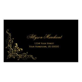 Elegant Ornate Gold Swirls on Black Pack Of Standard Business Cards