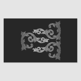 elegant Ornate Goth Design Rectangular Sticker
