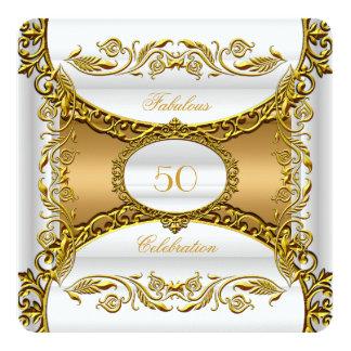 Elegant Ornate White Gold Fabulous 50th Birthday Card