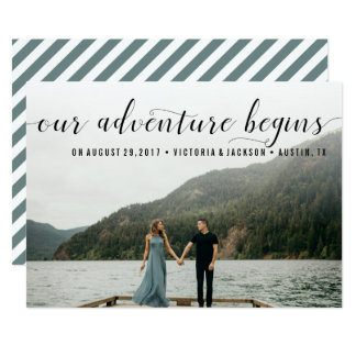 Elegant Our Adventure begins Save the Date Photo Card