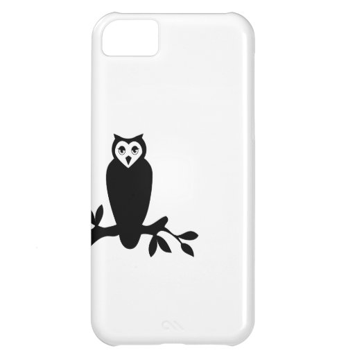 Elegant owl & branch silhouette vector graphic  cover for iPhone 5C