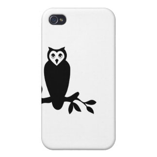 Elegant owl & branch silhouette vector graphic iPhone 4/4S covers