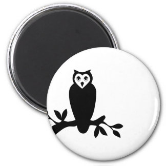 Elegant owl & branch silhouette vector graphic refrigerator magnets