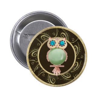Elegant Owl Jewels Photo Print Button