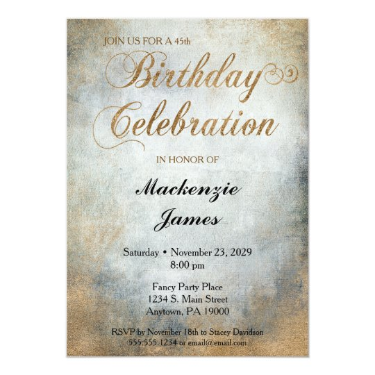 Elegant Painted Copper Birthday Party Invitation