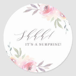 Elegant Painted Floral Surprise Birthday Party Classic Round Sticker