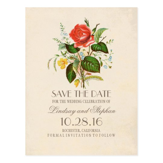 elegant painted flowers vintage save the date postcard