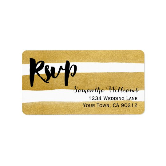 Elegant Painted Gold Stripes Wedding RSVP Labels