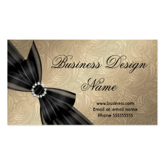 Elegant Paisley Brown Gold Black Diamond Bow Double-Sided Standard Business Cards (Pack Of 100)
